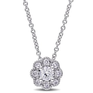 Laura Ashley 10k White Gold 1/4ct TDW Diamond Flower Necklace (G-H, I2-I3)