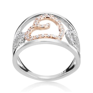 Andrew Charles 14k White and Yellow Gold 1/3ct TDW Diamond Wide Band Ring