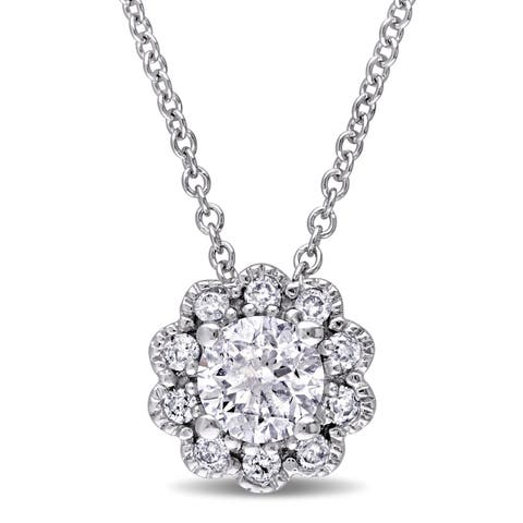 Laura Ashley 10k White Gold 1/2ct TDW Diamond Flower Necklace