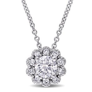 Laura Ashley 10k White Gold 1/2ct TDW Diamond Flower Necklace (G-H, I2-I3)