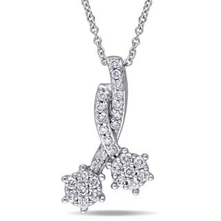 Laura Ashley 10k White Gold 1/3ct TDW Diamond Double Flower Necklace (G-H, I2-I3)