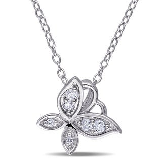 Laura Ashley Sterling Silver 1/8ct TDW Diamond Butterfly Necklace (G-H, I2-I3)