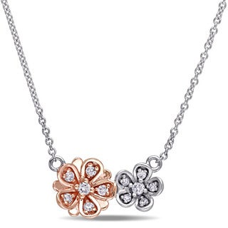 Laura Ashley 10k White and Rose Gold 1/7ct TDW Double Flower 2-Tone Diamond Necklace (G-H, I2-I3)