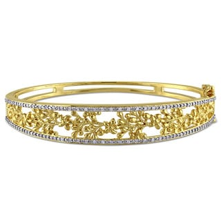 Laura Ashley Yellow plated Sterling Silver 1 /3ct TDW Diamond Filigree Bangle