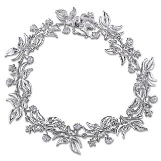 Laura Ashley Sterling Silver 1/5ct TDW Diamond Floral Spray Bracelet (G-H, I2-I3)