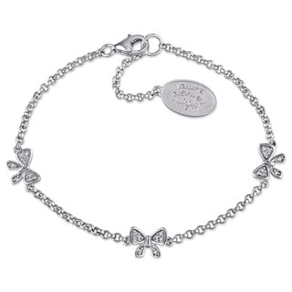 Laura Ashley Sterling Silver 1 /10ct TDW Diamond Ribbon Bracelet