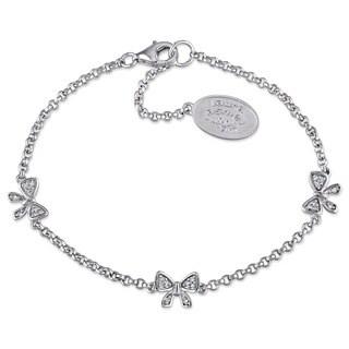 Laura Ashley Sterling Silver 1 /10ct TDW Diamond Ribbon Bracelet