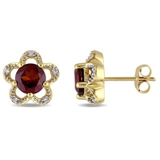 Laura Ashley 10k Yellow Gold Diamond Accent and Garnet Flower Stud Earrings