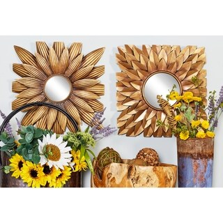 "23"" Set of 9 Square Metal Wall Decor with Round Mirrors by Studio 350 - Antique Gold"