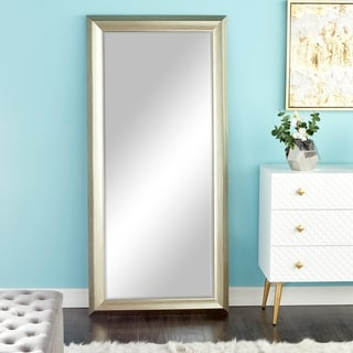 "Traditional Style Rectangular Beveled Wall Mirror 30"" x 65"" - White"