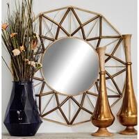 Strick & Bolton Buri Round Geometric Wall Mirror - Gold - N/A