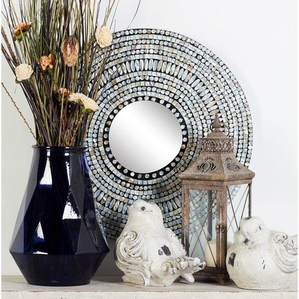 Shop Strick Amp Bolton Buri Shell Inlaid Round Wall Mirror