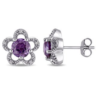 Laura Ashley 10k White Gold Diamond Accent and Created Alexandrite Flower Stud Earrings