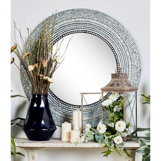 Contemporary Round Wall Mirror with Shell Tile Inlays by Studio 350 - Grey