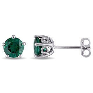 Laura Ashley Sterling Silver Created Emerald Stud Earrings