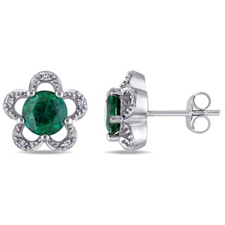 Laura Ashley 10k White Gold Diamond Accent and Created Emerald Flower Stud Earrings