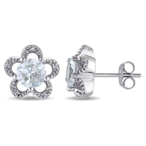 Laura Ashley 10k White Gold Diamond Accent and Aquamarine Flower Stud Earrings