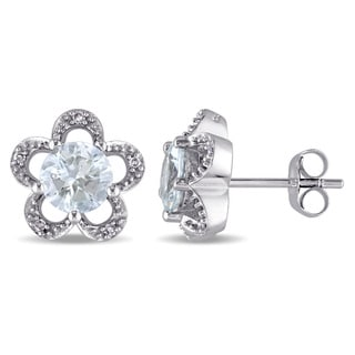 Laura Ashley 10k White Gold Diamond Accent and Aquamarine Flower Stud Earrings