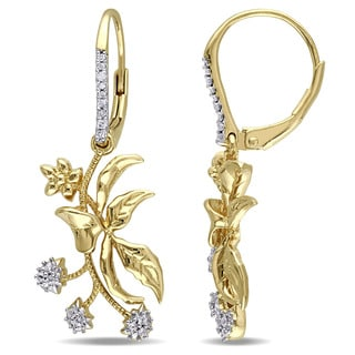 Laura Ashley Yellow Plated Sterling Silver Diamond Accent with White Sapphire Floral Branch Leverback Earrings