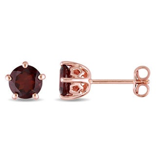 Laura Ashley Rose Plated Sterling Silver Garnet Stud Earrings