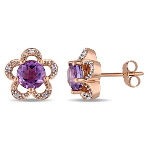 Laura Ashley 10k Rose Gold Diamond Accent and Amethyst Flower Stud Earrings