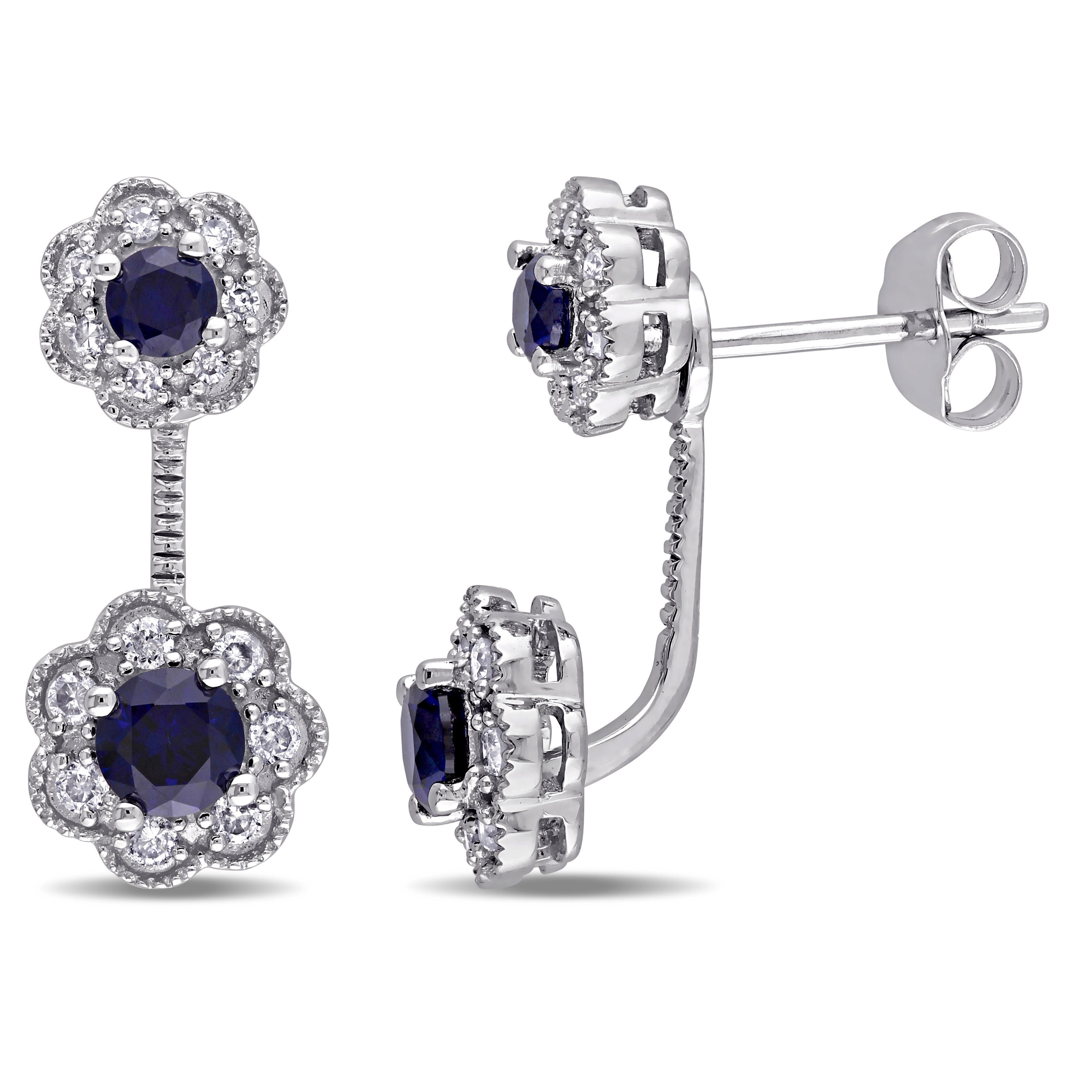 I2-I3 1//4ct TDW Blue Round Cut Diamond Stud Earrings 10k white gold