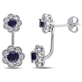 Laura Ashley 10k White Gold 1/4ct TDW Diamond and Created Blue Sapphire Stud Flower 2-piece Earrings (G-H, I2-I3)