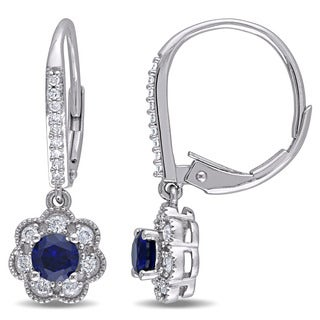 Laura Ashley 10k White Gold 1/5ct TDW Diamond and Created Blue Sapphire Leverback Earrings (G-H, I2-I3)
