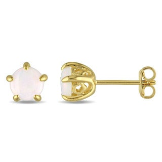 Laura Ashley Yellow Plated Sterling Silver Opal Stud Earrings