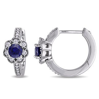 Laura Ashley 10k White Gold 1/5ct TDW Diamond and Created Blue Sapphire Flower Hoop Earrings (G-H, I2-I3)