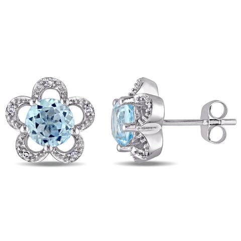 Laura Ashley 10k White Gold Diamond Accent and Sky Blue Topaz Flower Stud Earrings