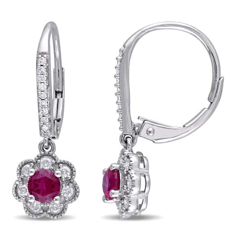 Laura Ashley 10k White Gold 1/5ct TDW Diamond and Created Ruby Leverback Earrings (G-H, I2-I3)