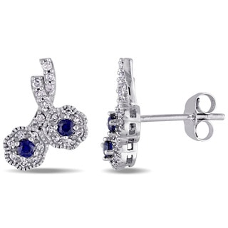Laura Ashley 10k White Gold 1/6ct TDW Diamond and Created Blue Sapphire Crossover Double Flower Stud Earrings (G-H, I2-I3)