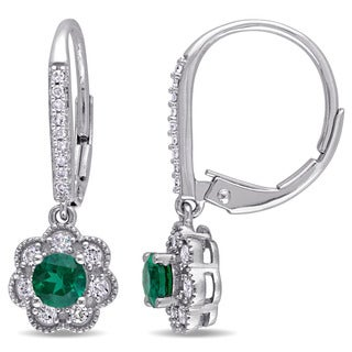 Laura Ashley 10k White Gold 1/5ct TDW Diamond and Created Emerald Leverback Earrings (G-H, I2-I3)