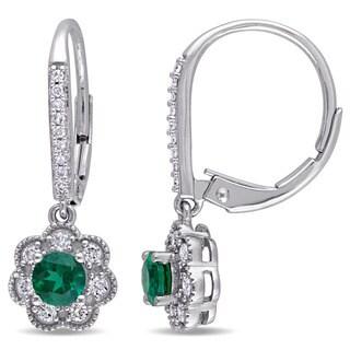 Laura Ashley 10k White Gold 1/5ct TDW Diamond and Created Emerald Leverback Earrings (G-H, I2-I3)