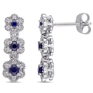 Laura Ashley 10k White Gold 1/5 ct TDW Diamond and Created Blue Sapphire 3-drop Flower Stud Earrings (G-H, I2-I3)
