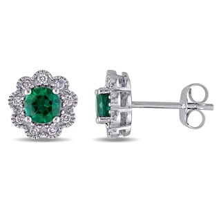 Laura Ashley 10k White Gold 1/5ct TDW Diamond and Created Emerald Stud Earrings (G-H, I2-I3)