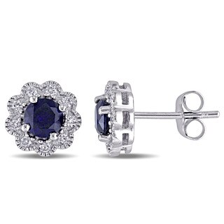 Laura Ashley 10k White Gold 1/5ct TDW Diamond and Created Blue Sapphire Stud Earrings