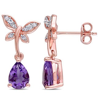 Laura Ashley Rose Plated Sterling Silver Amethyst White Sapphire Butterfly Stud Earrings