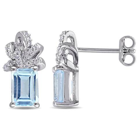 Laura Ashley Sterling Silver 1/10ct TDW Diamond and Sky Blue Topaz Ribbon Stud Earrings (G-H, I2-I3)