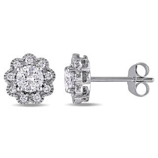 Laura Ashley 10k White Gold 1ct TDW Diamond Flower Stud Earrings (G-H, I2-I3)