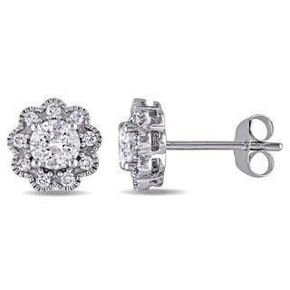 Laura Ashley 10k White Gold 1ct TDW Diamond Flower Stud Earrings