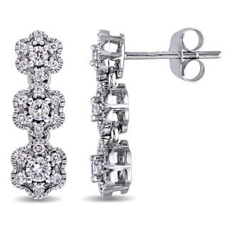 Laura Ashley 10k White Gold 1/2ct TDW Diamond 3-Flower Drop Stud Earrings (G-H, I2-I3)