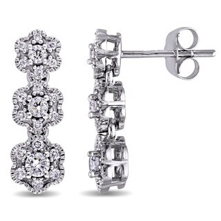 Laura Ashley 10k White Gold 1/2ct TDW Diamond 3-Flower Drop Stud Earrings