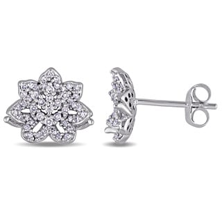Laura Ashley 10K White Gold 1/3ct TDW Diamond Flower Stud Earrings (G-H, I2-I3)
