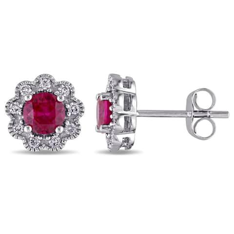 Laura Ashley 10k White Gold 1/5ct TDW Diamond and Created Ruby Stud Earrings (G-H, I2-I3)
