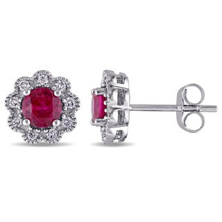 Laura Ashley 10k White Gold 1/5ct TDW Diamond and Created Ruby Stud Earrings (G-H, I2-I3)