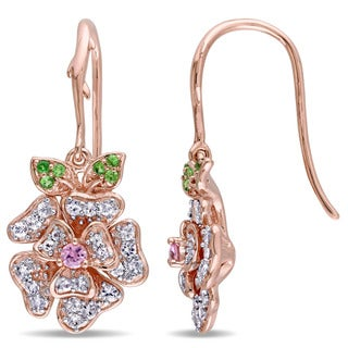 Laura Ashley Rose Plated Sterling Silver White and Pink Sapphire Floral Tsavorite Shepherd Hook Earrings