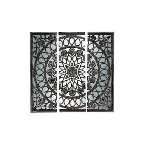 Wood and Mirror Wall Panel Set - Black