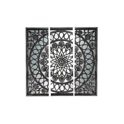 Wood and Mirror Wall Panel Set - Black